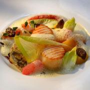 Gebratene norwegische Jakobsmuschel, Zitrusfrüchte, Kürbis und Chicorée