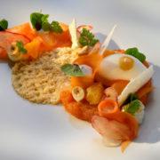 Variation von Karotte und Fichtensprosse mit Sauerklee